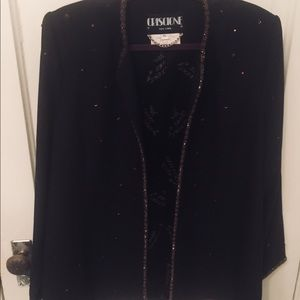Criscione Couture black and bronze beaded jacket